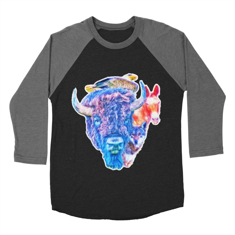 American Spirit Women's Baseball Triblend Longsleeve T-Shirt by Of The Wild by Kimberly J Tilley