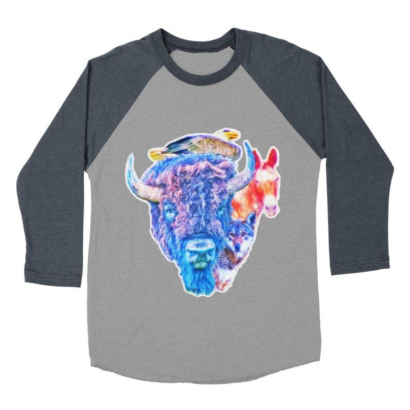 American Spirit Men's Baseball Triblend Longsleeve T-Shirt by Of The Wild by Kimberly J Tilley