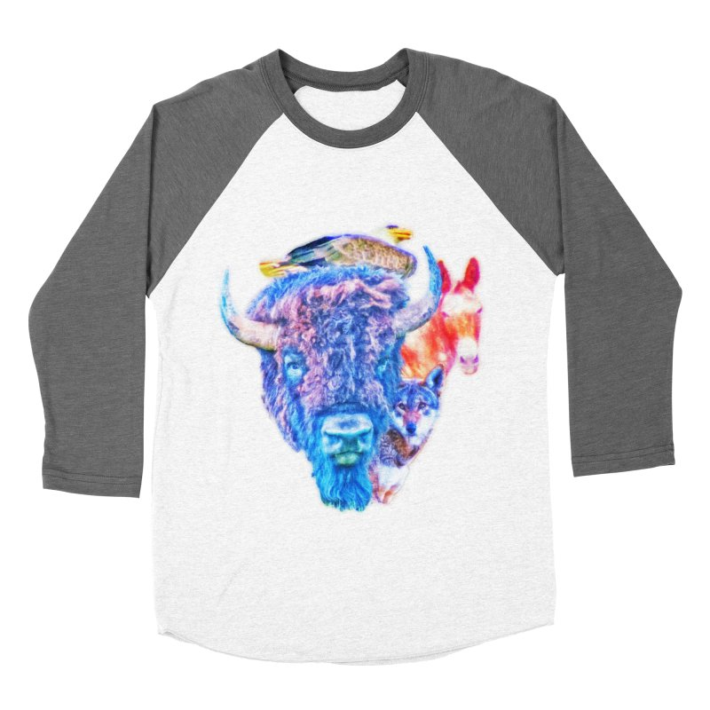 American Spirit Men's Baseball Triblend Longsleeve T-Shirt by Of The Wild by Kimberly J Tilley