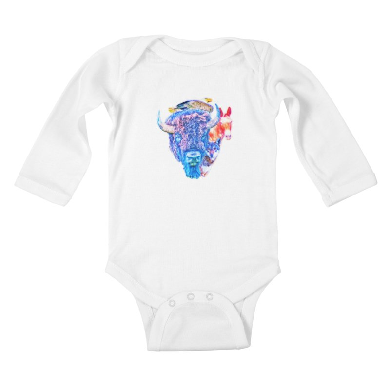 American Spirit Kids Baby Longsleeve Bodysuit by Of The Wild by Kimberly J Tilley
