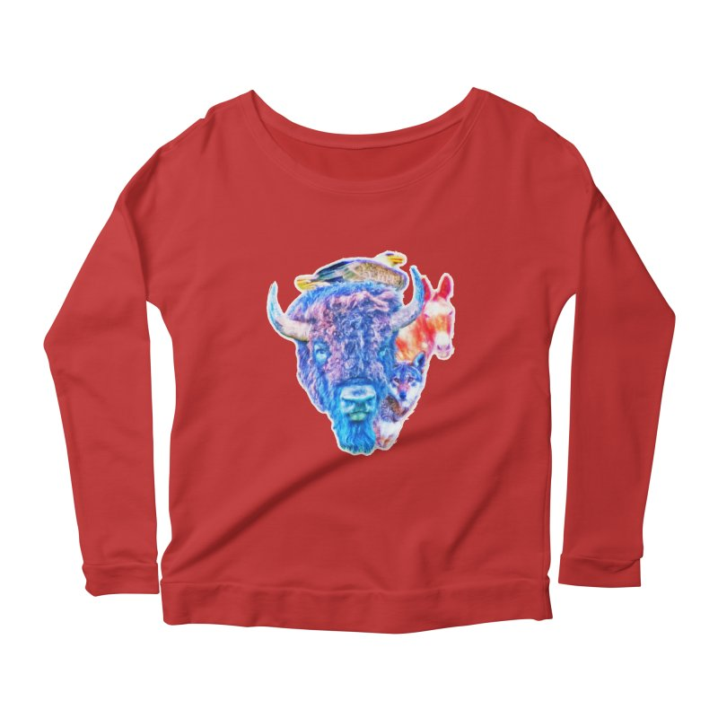 American Spirit Women's Scoop Neck Longsleeve T-Shirt by Of The Wild by Kimberly J Tilley