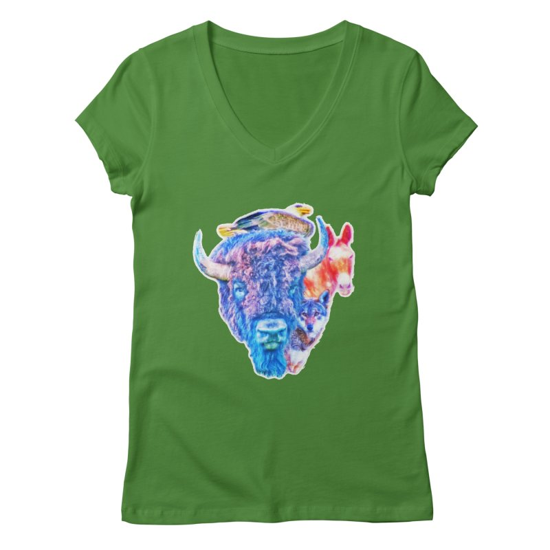 American Spirit Women's Regular V-Neck by Of The Wild by Kimberly J Tilley