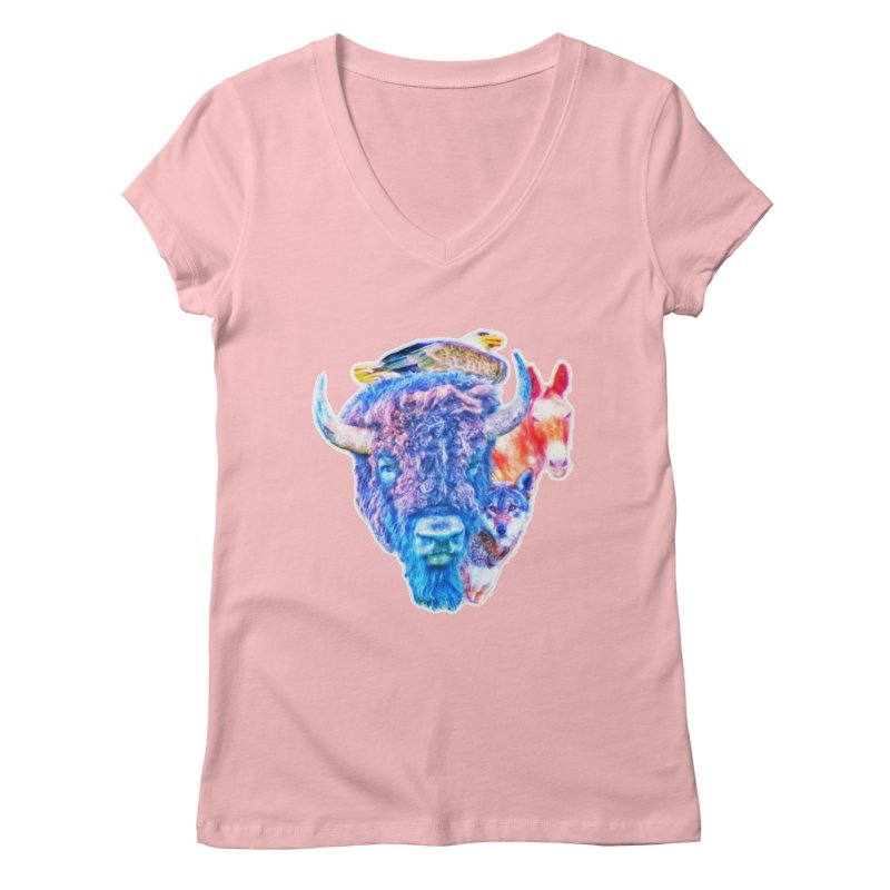 American Spirit Women's V-Neck by Of The Wild by Kimberly J Tilley