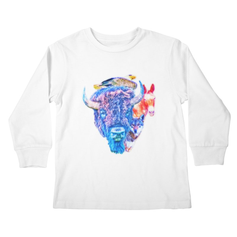 American Spirit Kids Longsleeve T-Shirt by Of The Wild by Kimberly J Tilley