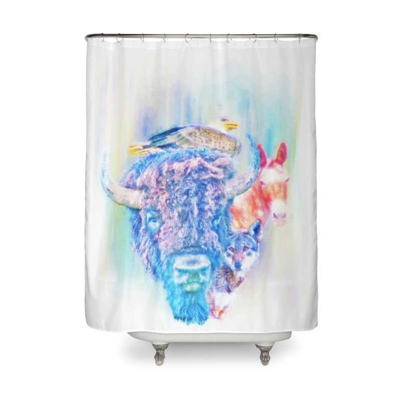 American Spirit Home Shower Curtain by Of The Wild by Kimberly J Tilley