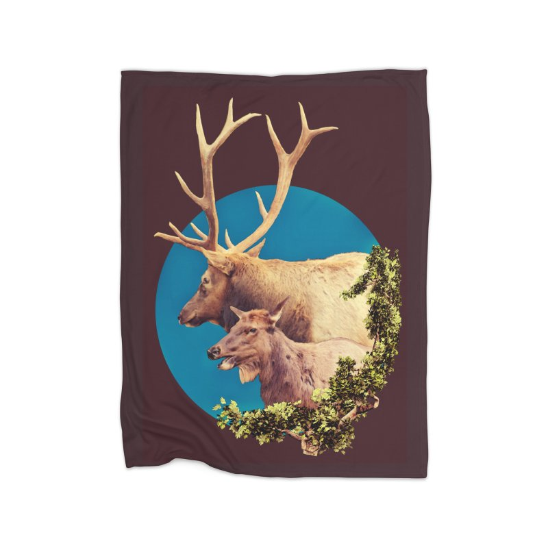 The Stag and the Hind Home Fleece Blanket Blanket by Of The Wild by Kimberly J Tilley