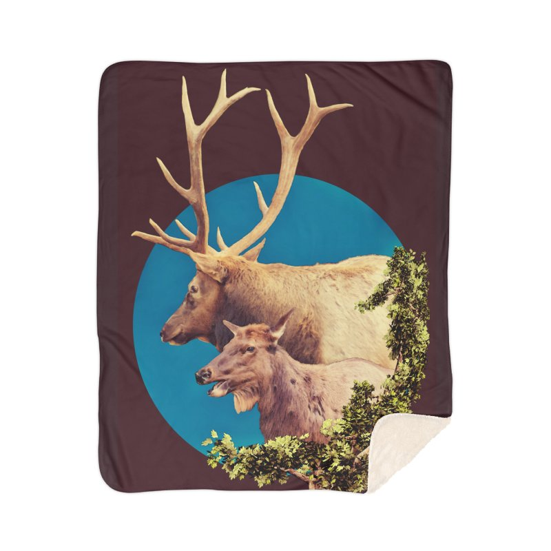 The Stag and the Hind Home Sherpa Blanket Blanket by Of The Wild by Kimberly J Tilley