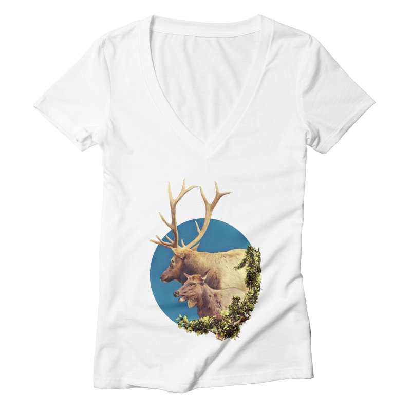 The Stag and the Hind Women's Deep V-Neck V-Neck by Of The Wild by Kimberly J Tilley