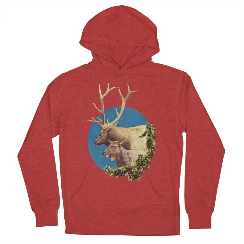 The Stag and the Hind Men's French Terry Pullover Hoody by Of The Wild by Kimberly J Tilley