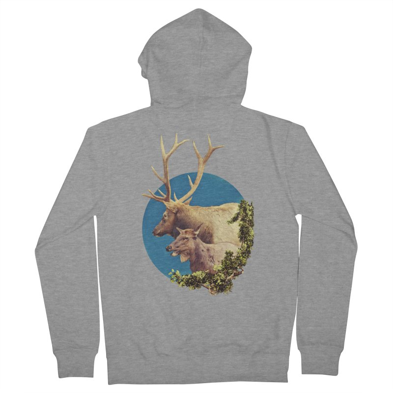 The Stag and the Hind Men's French Terry Zip-Up Hoody by Of The Wild by Kimberly J Tilley