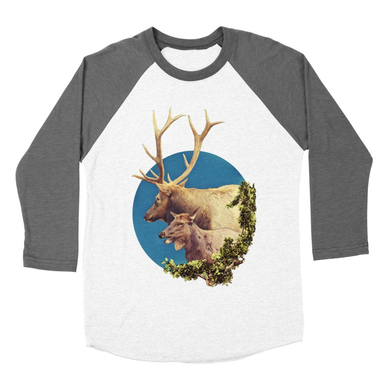 The Stag and the Hind Men's Baseball Triblend Longsleeve T-Shirt by Of The Wild by Kimberly J Tilley