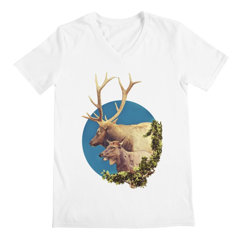 The Stag and the Hind Men's Regular V-Neck by Of The Wild by Kimberly J Tilley