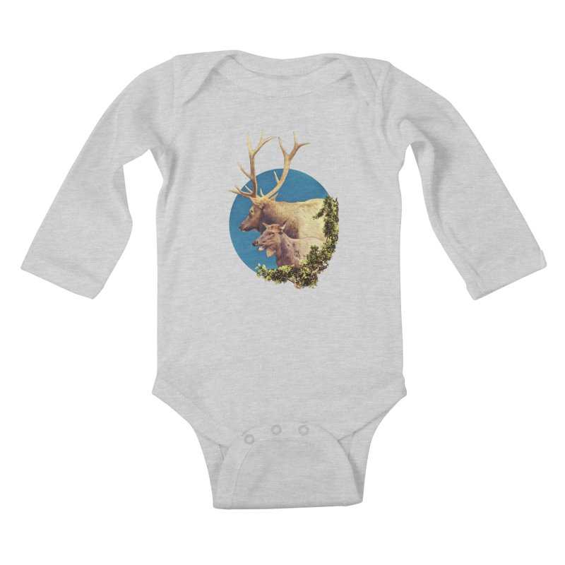 The Stag and the Hind Kids Baby Longsleeve Bodysuit by Of The Wild by Kimberly J Tilley