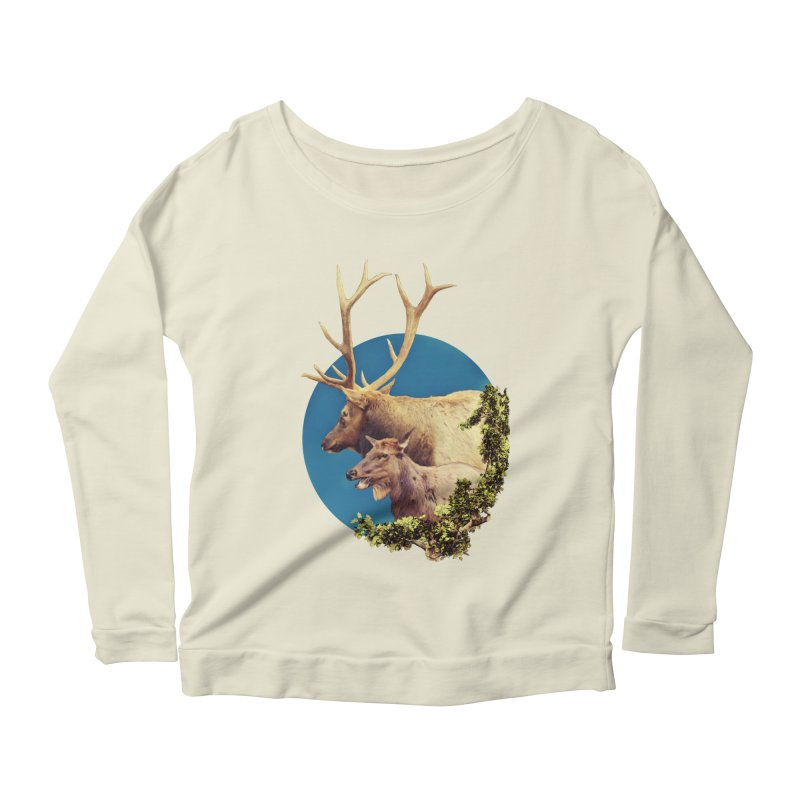 The Stag and the Hind Women's Scoop Neck Longsleeve T-Shirt by Of The Wild by Kimberly J Tilley