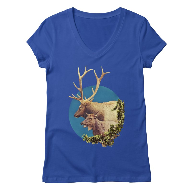 The Stag and the Hind Women's Regular V-Neck by Of The Wild by Kimberly J Tilley