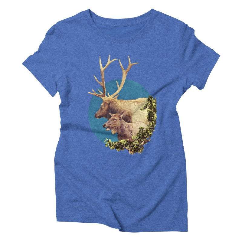 The Stag and the Hind Women's Triblend T-Shirt by Of The Wild by Kimberly J Tilley
