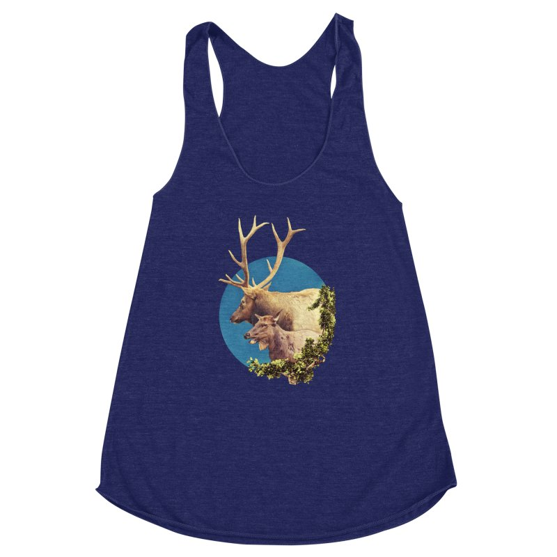 The Stag and the Hind Women's Racerback Triblend Tank by Of The Wild by Kimberly J Tilley