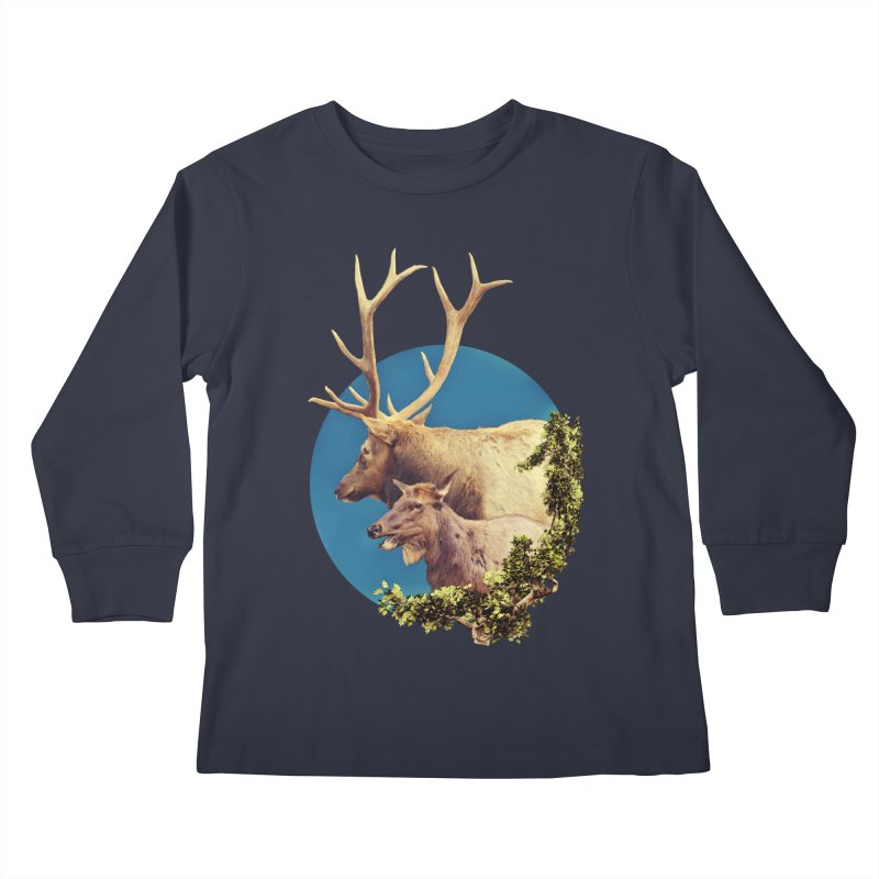 The Stag and the Hind Kids Longsleeve T-Shirt by Of The Wild by Kimberly J Tilley