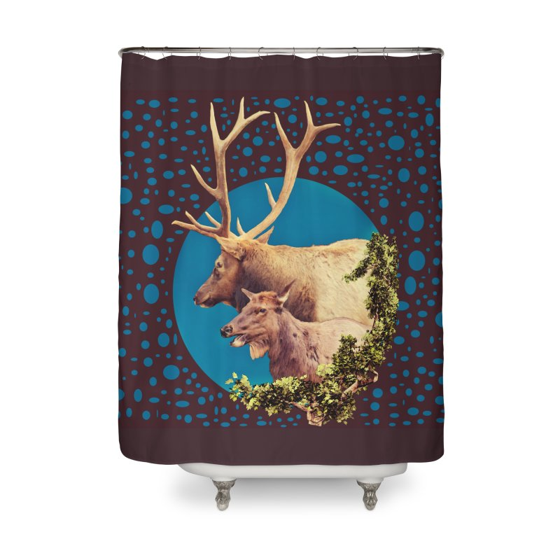The Stag and the Hind Home Shower Curtain by Of The Wild by Kimberly J Tilley