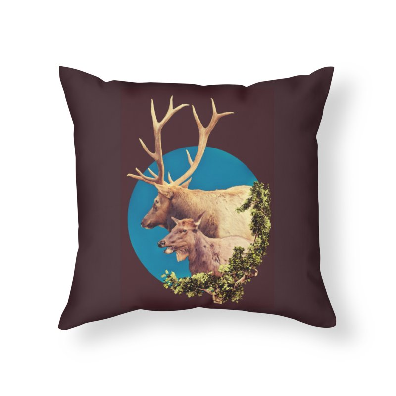 The Stag and the Hind Home Throw Pillow by Of The Wild by Kimberly J Tilley