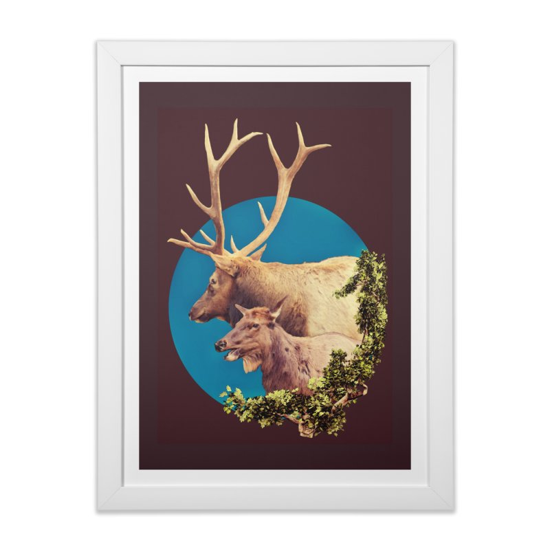 The Stag and the Hind in Framed Fine Art Print White by Of The Wild by Kimberly J Tilley