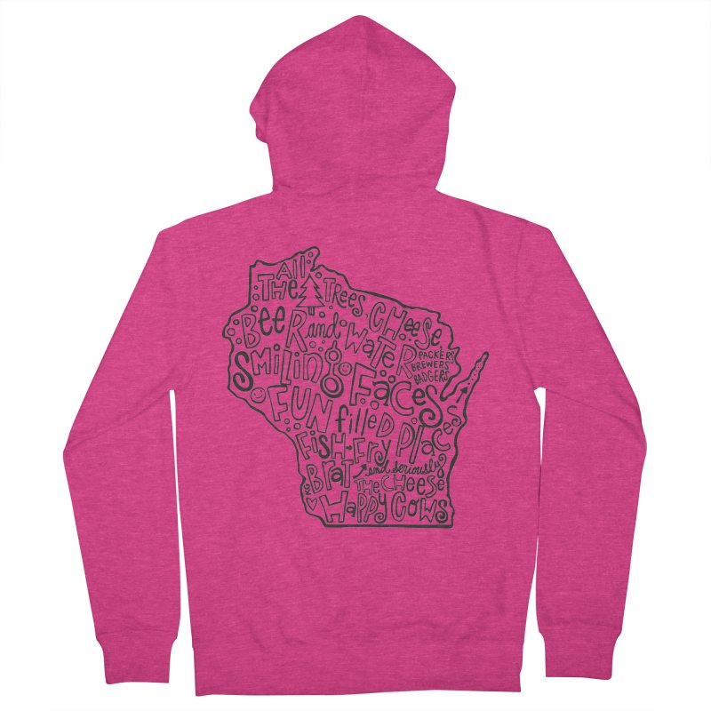 Wisconsin Women's French Terry Zip-Up Hoody by kimgeiserstudios's Artist Shop