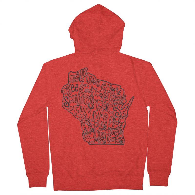 Wisconsin Men's Zip-Up Hoody by kimgeiserstudios's Artist Shop