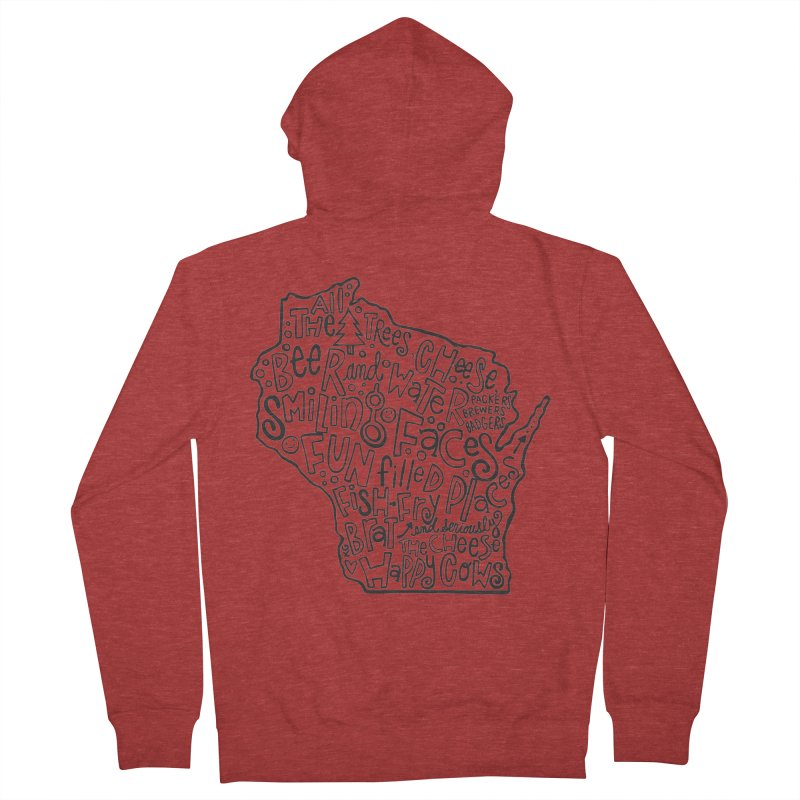 Wisconsin Men's French Terry Zip-Up Hoody by kimgeiserstudios's Artist Shop