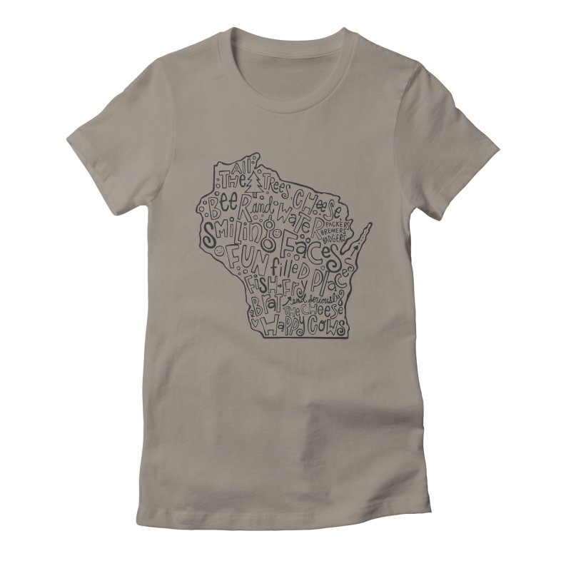 Wisconsin Women's Fitted T-Shirt by kimgeiserstudios's Artist Shop
