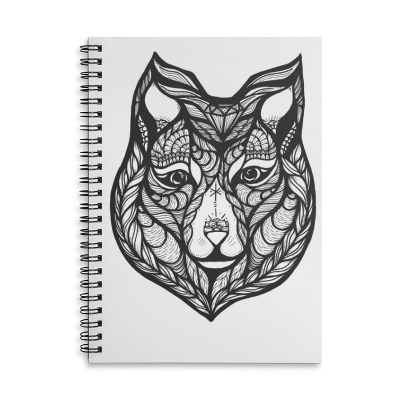 Wolf Accessories Lined Spiral Notebook by kimkirch's Artist Shop