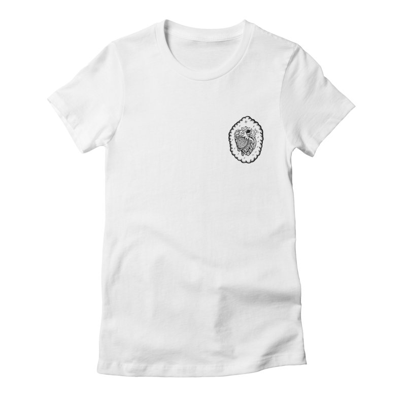 shred heart Women's Fitted T-Shirt by kimkirch's Artist Shop