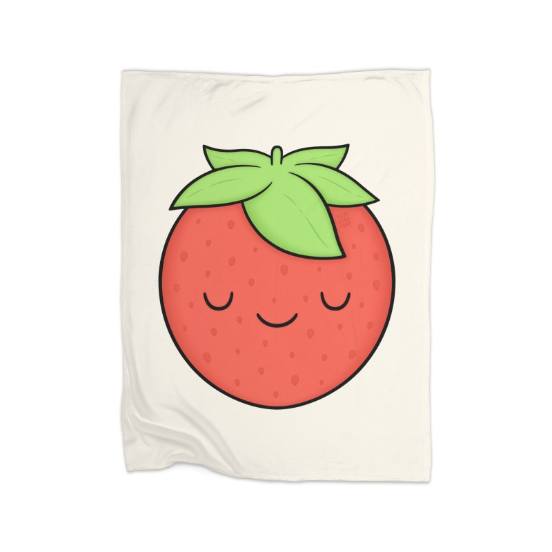Strawberry Home Fleece Blanket Blanket by Kim Vervuurt