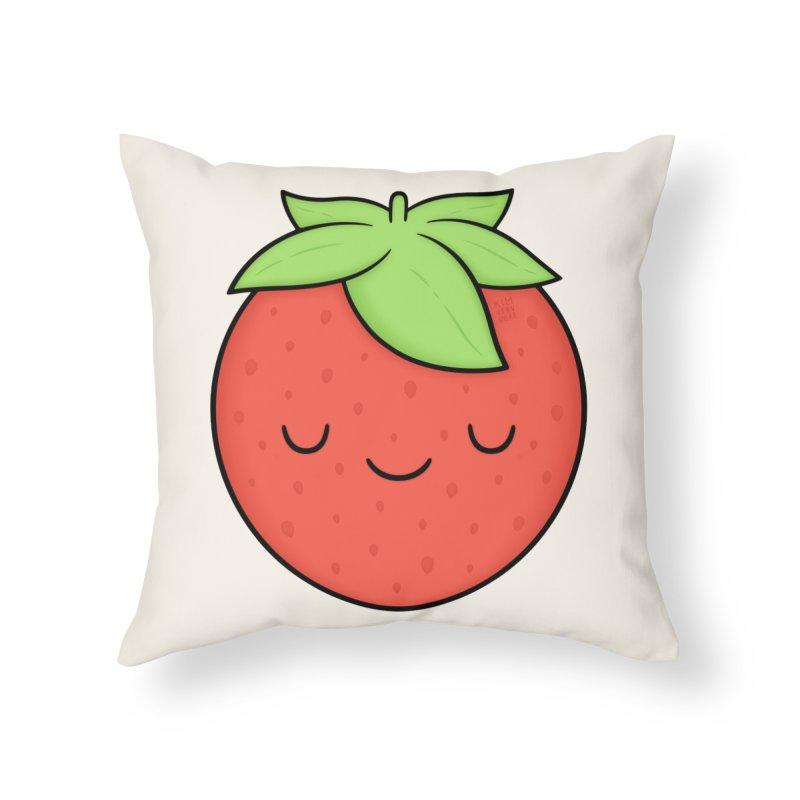 Strawberry Home Throw Pillow by Kim Vervuurt