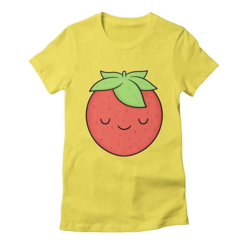 Strawberry Women's Fitted T-Shirt by Kim Vervuurt