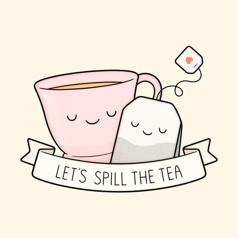 Let's Spill The Tea Home Mounted Aluminum Print by Kim Vervuurt