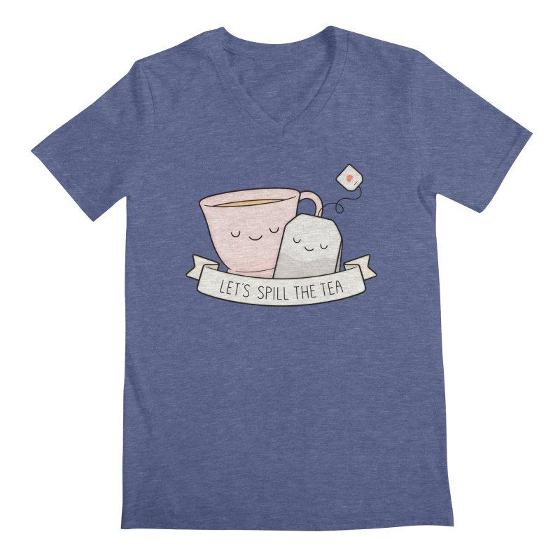Let's Spill The Tea Men's Regular V-Neck by Kim Vervuurt