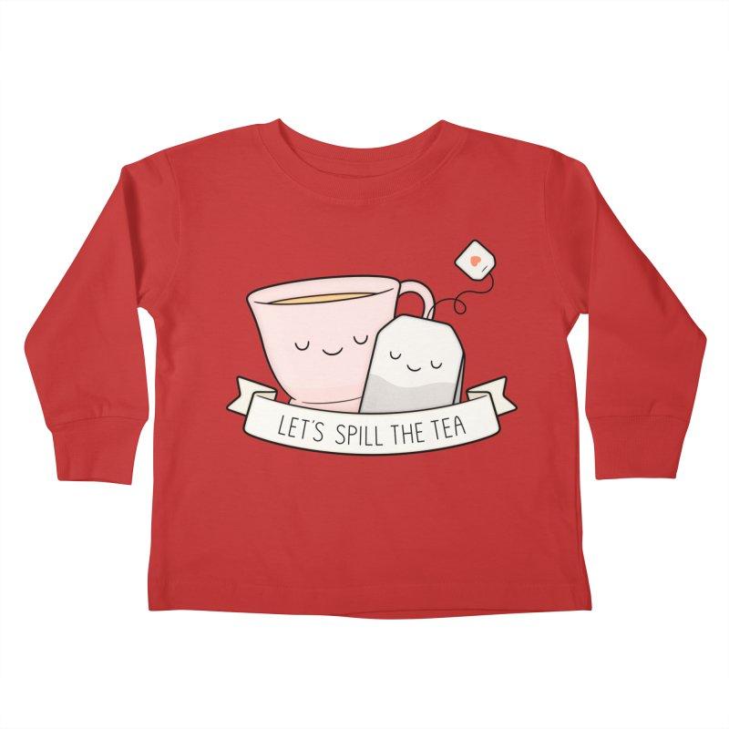 Let's Spill The Tea Kids Toddler Longsleeve T-Shirt by Kim Vervuurt