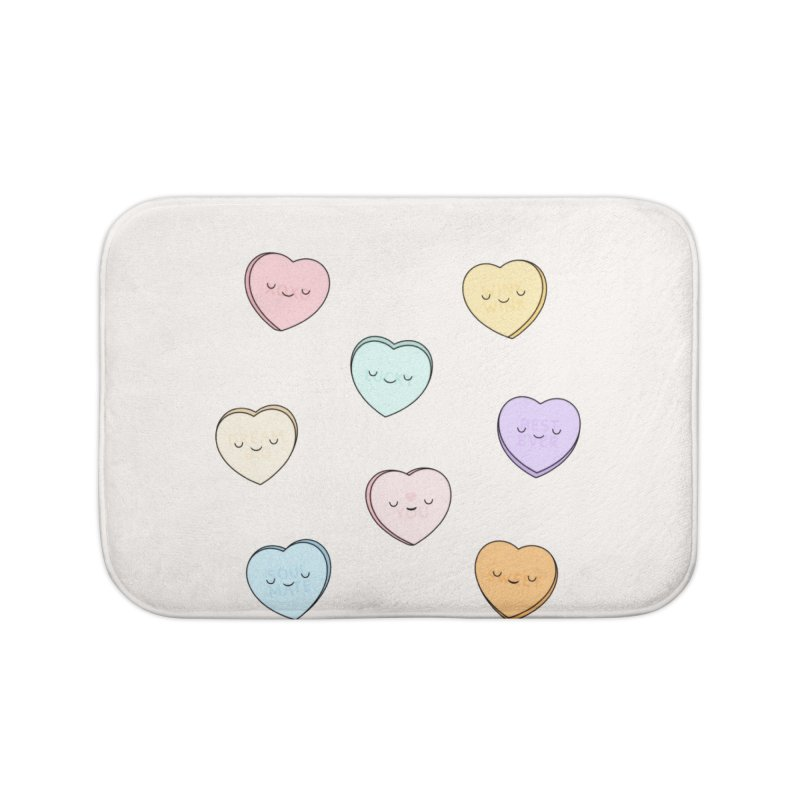 Sweet Candy Hearts Home Bath Mat by Kim Vervuurt