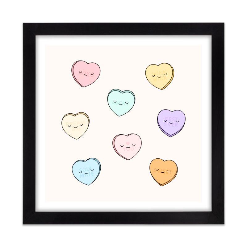 Sweet Candy Hearts Home Framed Fine Art Print by Kim Vervuurt