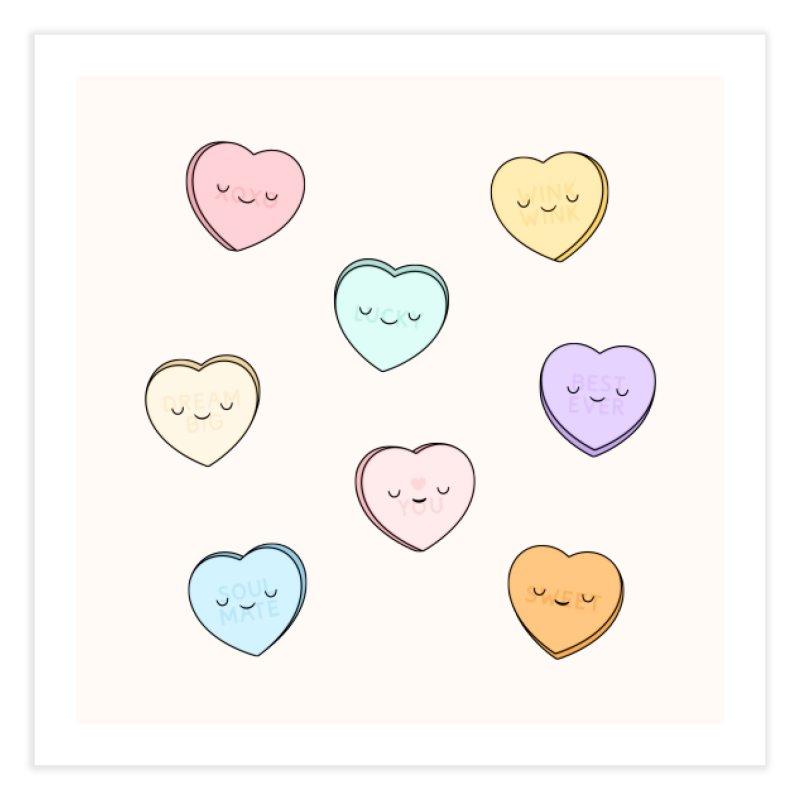 Sweet Candy Hearts Home Fine Art Print by Kim Vervuurt