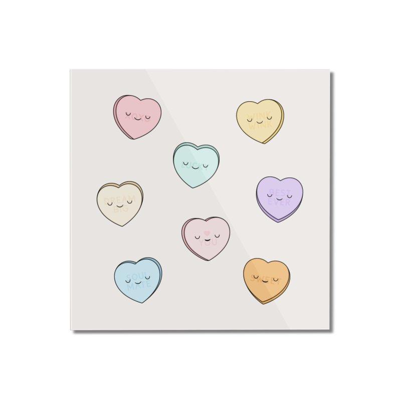Sweet Candy Hearts Home Mounted Acrylic Print by Kim Vervuurt