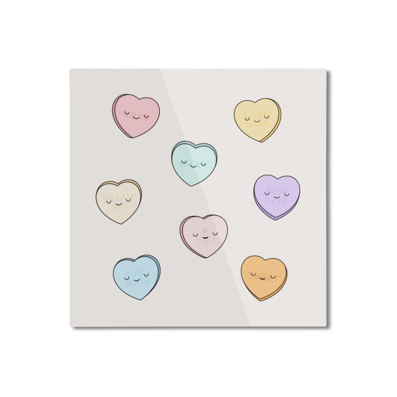 Sweet Candy Hearts Home Mounted Aluminum Print by Kim Vervuurt