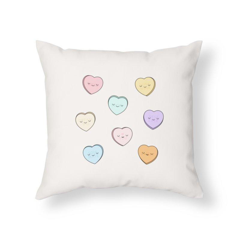 Sweet Candy Hearts Home Throw Pillow by Kim Vervuurt