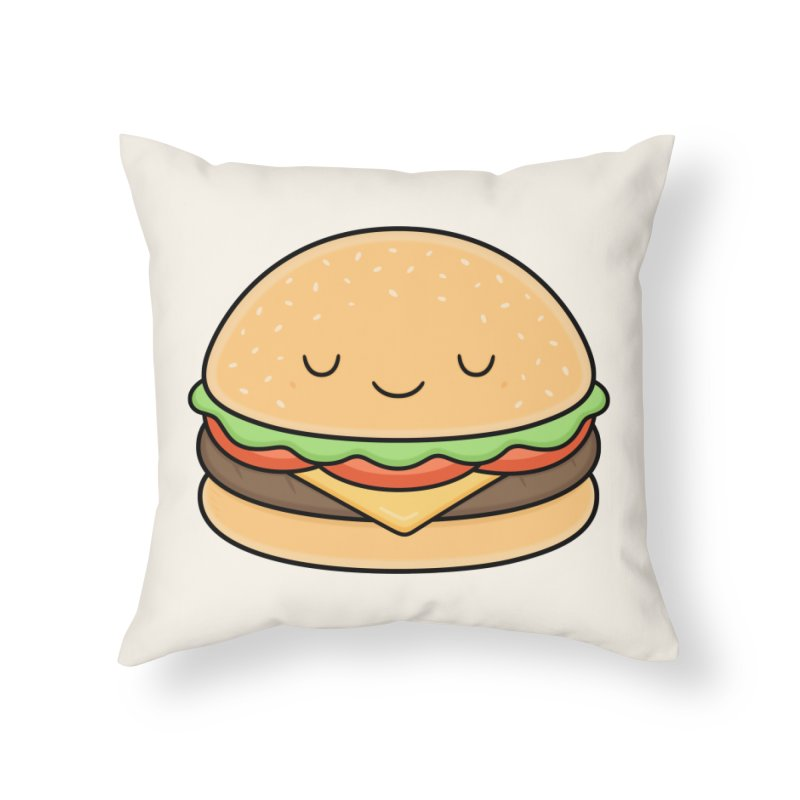 Happy Burger Home Throw Pillow by Kim Vervuurt