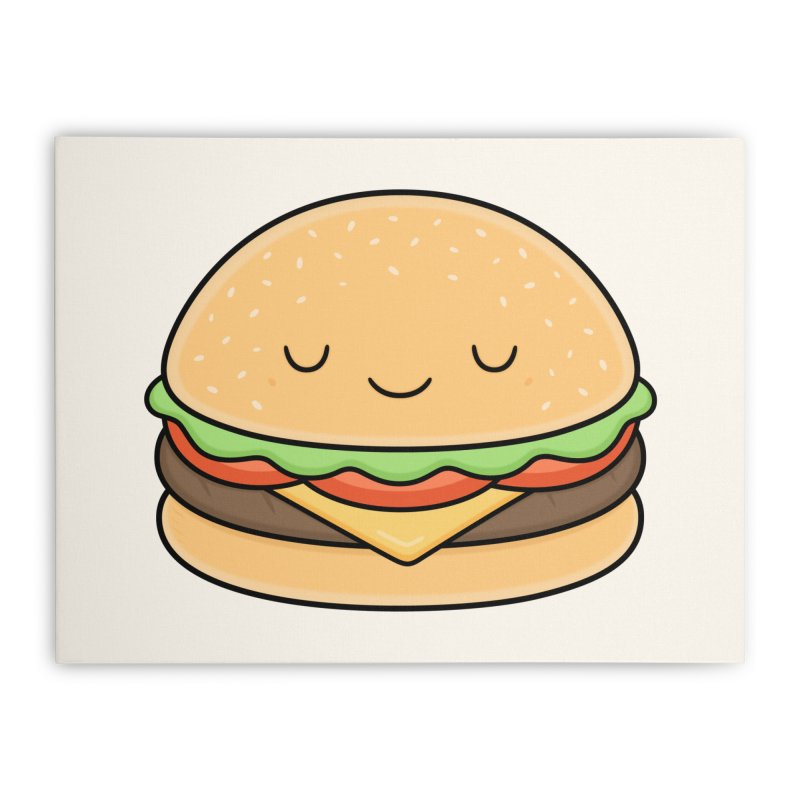 Happy Burger Home Stretched Canvas by Kim Vervuurt