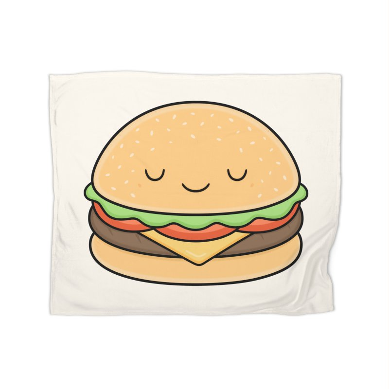 Happy Burger Home Fleece Blanket Blanket by Kim Vervuurt