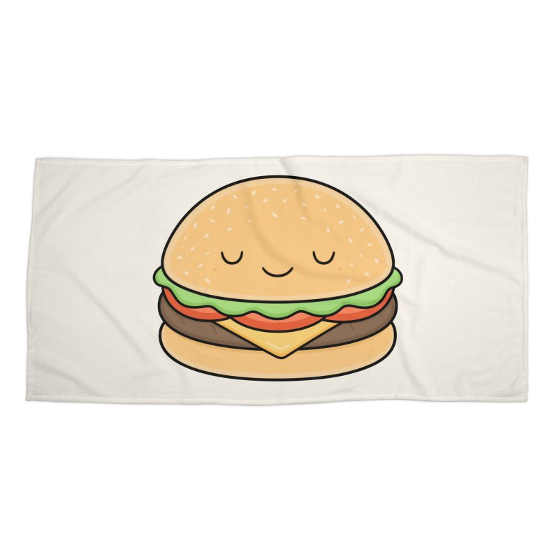 Happy Burger Accessories Beach Towel by Kim Vervuurt