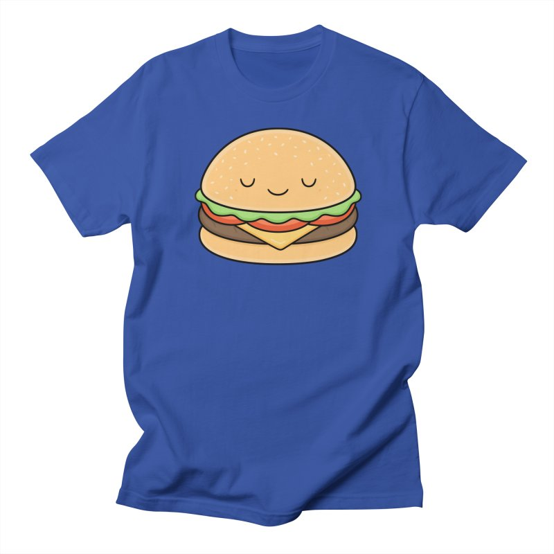 Happy Burger in Men's Regular T-Shirt Royal Blue by Kim Vervuurt
