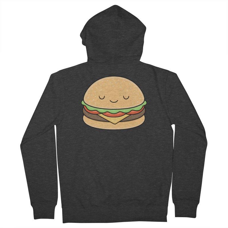 Happy Burger Men's French Terry Zip-Up Hoody by Kim Vervuurt