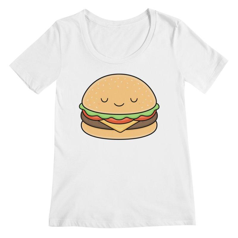 Happy Burger Women's Regular Scoop Neck by Kim Vervuurt